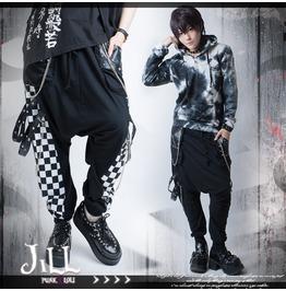Punk Heavy Rock Circus Grommet Strap Designer Harem Pants W/ Chains Jag0002