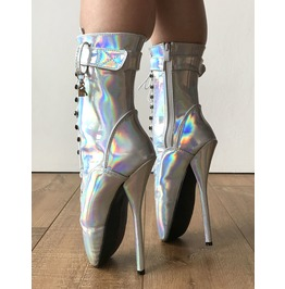 Rtbu Ballet Silver Holographic Rainbow Fetish Boot Burlesque Dominatrix
