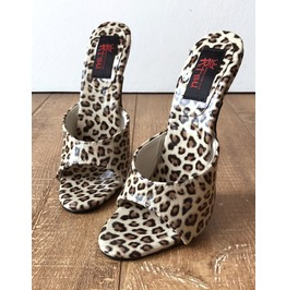 18 Mule Leopard Patent Sexy Mistress Heel Stiletto Fetish Slipper Slide Mule