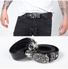 Metal Silver Skull Buckle Genuine Leather Belt 62