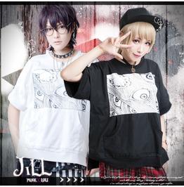 Street Punk Harajuku Junji Ito Ayakashi Eye Kangaroo Pouch Tshirt Jag0006