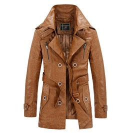 British Military Buttons Design Wide Collar Long Pu Leather Wool Liner Coat