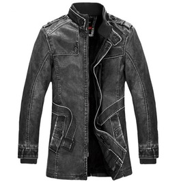 Punk Gothic Washed Pu Leather Stand Collar Motorcycle Biker Jacket Coat Men