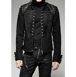 Punk Rave Men's Steampunk Gothic Rock Metal Military Short Black Army Jacke