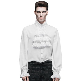 Men's Gothic Ruffled White Shirt