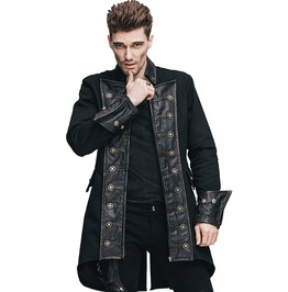 Men's Gothic High Collar Black Coat