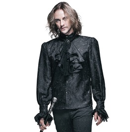 Men's Gothic Vintage Print Ruffled Shirt