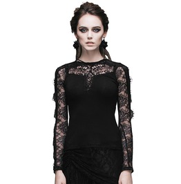 Women's Black Gothic Lace Long Sleeved Top
