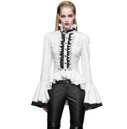 Gothic Women's Vampire Ruffled Lace White Top