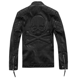 Danger Big Skull Back Design Pu Leather Punk Goth Motorcycle Jacket Men
