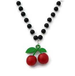 Rockabilly Black Beaded Cherry Necklace