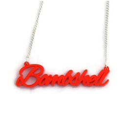 Red Bombshell Script Necklace, Women's Acrylic Necklace