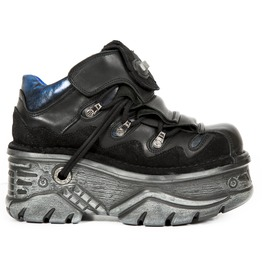 New Rock Black Crust Blue Metal Goth Lace Up Shoes