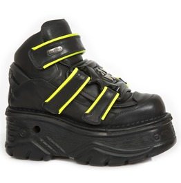 New Rock Black Crust Turbo Yellow Reflect Goth Leather Shoes