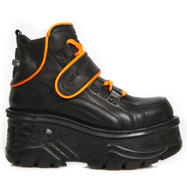 New Rock Black Crust Turbo Orange Reflect Goth Leather Shoes
