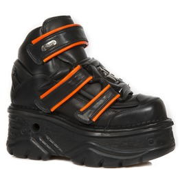 New Rock Black Crust Turbo Orange Reflect Goth Velcro Closure Leather Sho