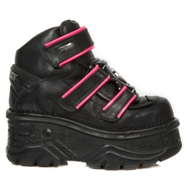 New Rock Black Crust Turbo Pink Reflect Goth Velcro Closure Leather Shoes