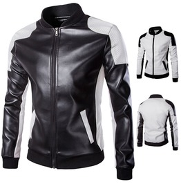 Men's Fashion Slim Fit Motorcycle Pu Leather Biker Jacket