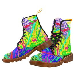 Funky Psychedelic Pattern Canvas Combat Boots