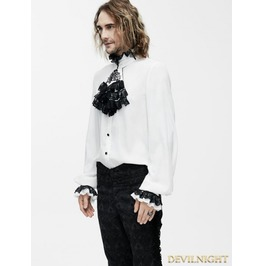 White Gothic Vintage Palace Style Blouse With Bowtie For Men Sht02302