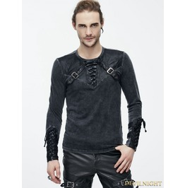 Do Old Style Steampunk Mens Shirt With Black Leather Accents Tt08201