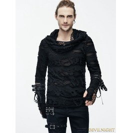 Black Gothic Hole Hooded Long Sleeves Shirt For Men Tt084