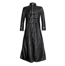 Mens Black Leather Gothic Trench Coat With Buckle Fastenings Coat