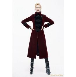 Red Velvet Chinese Knot Gothic Vintage Long Jacket For Women Ct06102