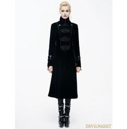 Black Velvet Chinese Knot Gothic Vintage Long Jacket For Women Ct06101