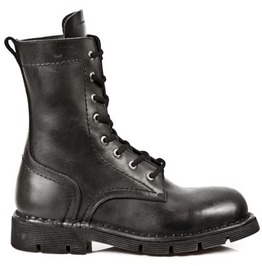 New Rock Comfort Light Black Military Leather Boots