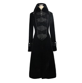 Women's Black Gothic Cross Accent Coat