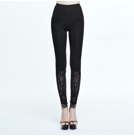 Women's Mesh Rings Straps Black Leggings