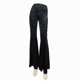 Women's Bell Bottom Feather Printed Black Pants