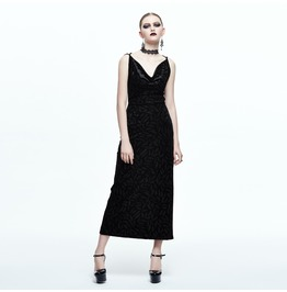 Women's Feather Printed Sexy Long Black Dress