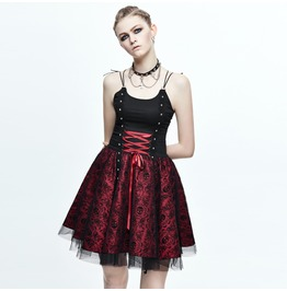 Women's Red And Black Gothic Lolita Dress