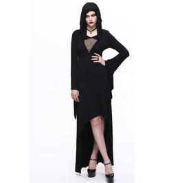 Women's Asymmetrical Hem Hooded Black Dress