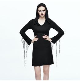 Women's V Neck Hooded Long Sleeve Dress