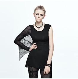 Women's Spiderweb Sleeve Black Top