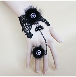 Women Gothic Black Fur Lace Bracelet Ring Set