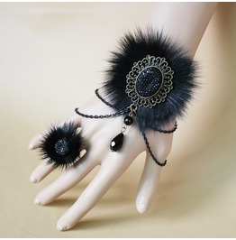 Faux Fur Bracelet Bangles Jewelry Fashion Bracelet Ring Set For Wome