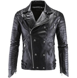 Punk Goth Skulls Buttons Pu Leather Slim Fit Motorcycle Jacket Men