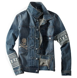 Skull Patterns Aztec Denim Jacket