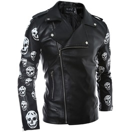 Oblique Zipper Large Lapel Skulls Cross Sleeves Slim Pu Leather Jacket Men