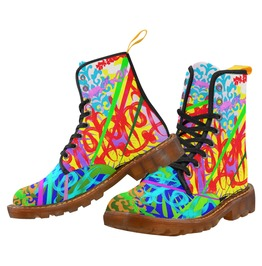 Funky Psychedelic Pattern No 2 Canvas Combat Boots