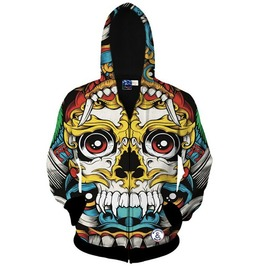 Harajuku 3 D Print Colored Dragon Skull Hooded Jacket