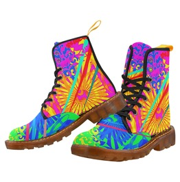 Funky Psychedelic Pattern No 3 Canvas Combat Boots