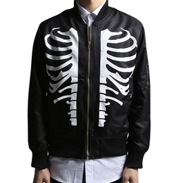 Skull Skeleton Ribs Printed Slim Fit Bomber Jacket