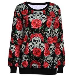 3 D Print Roses Flowers Skulls Skeleton Sweatshirt Pullover