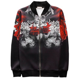 3 D Print Red Rose Skull Baseball Bomber Jacket
