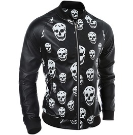 Skulls Print Black Pu Leather Slim Fit Motorcycle Jacket Men